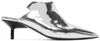 Marques Almeida Silver Pointy Kitten Mules