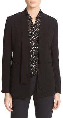 Women's Theory Alkrine Admiral Crepe Scarf Tie Jacket $445 thestylecure.com