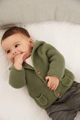 Next Khaki Hooded Cardigan (0mths-2yrs) - Green
