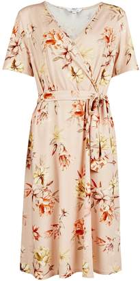 Dorothy Perkins Womens **Tall Pink Tropical Print Wrap Dress