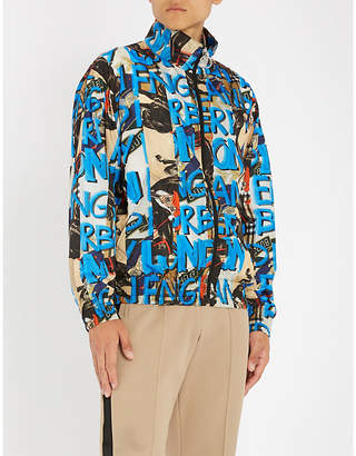 Burberry Graffiti-print shell bomber jacket