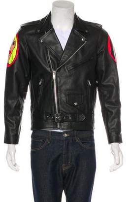 Church's Patrick x Muse0 Hand-Painted Miley Cyrus Leather Moto Jacket w/ Tags