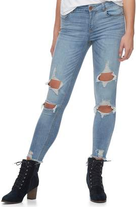 Almost Famous Juniors' Frayed Hem Ripped Skinny Jeans