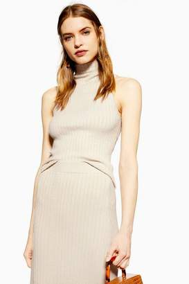 Topshop Womens Sleeveless Ribbed Funnel Neck Tank Top