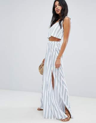 Asos Design DESIGN jersey beach two-piece maxi skirt in stripe