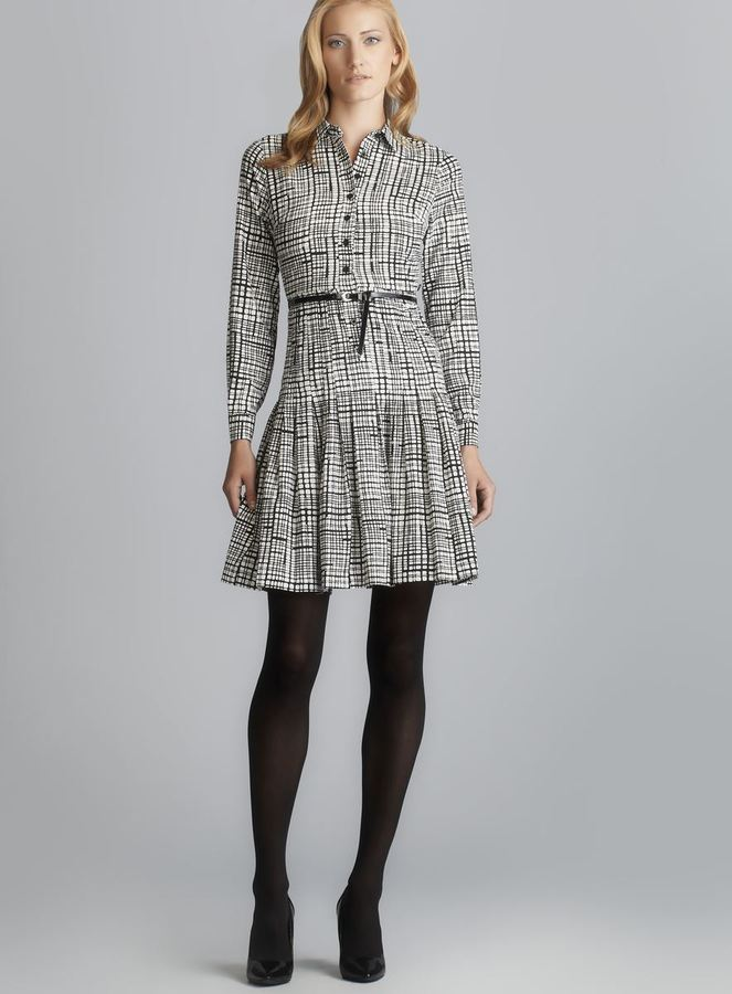Calvin Klein Long Sleeve Belted & Pleated Shirtdress