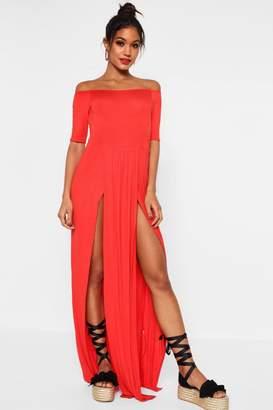 247a55f4b2b Free Returns at boohoo · boohoo Half Sleeve Double Front Split Maxi Dress