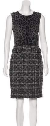 Dolce & Gabbana Animal Print Tweed Dress