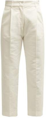See by Chloe Tailored Cotton Cropped Trosuers - Womens - Ivory