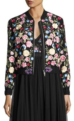 Needle & Thread Flower Foliage Embroidered Bomber Jacket, Black $459 thestylecure.com