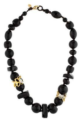 Alexis Bittar Onyx Bead, Resin & Crystal Collar Necklace