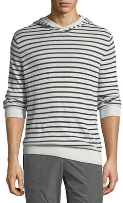 Vince Men's Striped Linen/Cotton Pullover Hoodie