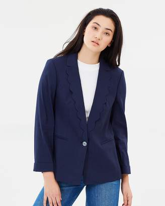 J.Crew Unstructured Linen Blazer with Scalloped Collar