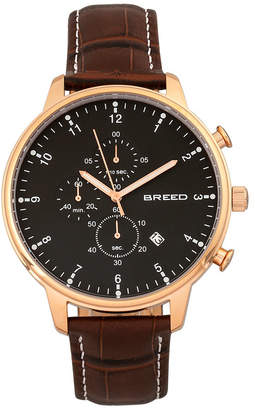 Breed Quartz Holden Chronograph Rose Gold And Brown Genuine Leather Watches 45mm