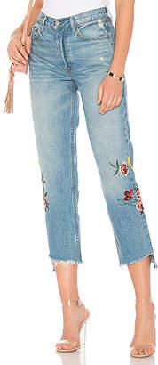 GRLFRND Helena High-Rise Embroidered Crop Jean