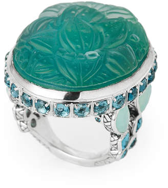 Stephen Dweck Teal Mother-Of-Pearl Accented Ring Size 7