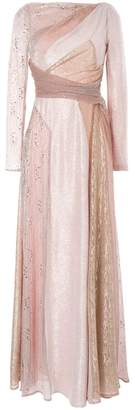 Talbot Runhof long-sleeve flared maxi dress