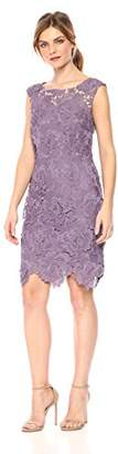 Nicole Miller New York Women's 3D Lace Scallop Fitted Cocktail Dress