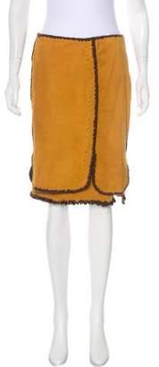 Saint Laurent Suede Knee-Length Skirt