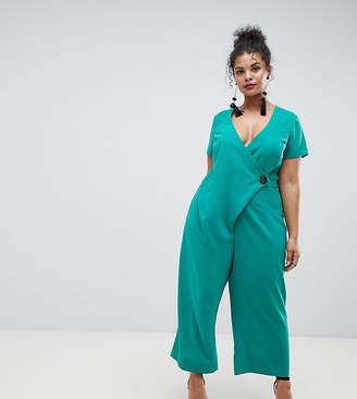 Asos Design Curve Wrap Jumpsuit With Horn Button And Culotte Leg
