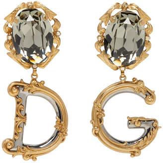 Dolce & Gabbana Gold Crystal Engraved Earrings