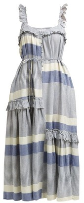 Apiece Apart Lypie Stripe Ruffle Sleeve Maxi Dress - Womens - Blue White