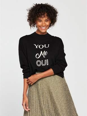 Whistles 'You Me Oui' Logo Sweater - Black