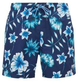 BOSS Hugo Floral-print swim shorts in quick-drying technical fabric M Open Blue