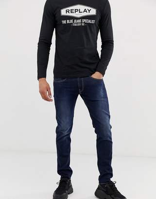 Anbass Power stretch slim fit jeans in mid wash