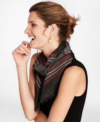 Brooks Brothers Glen Plaid Shimmer Wool-Silk Square Scarf