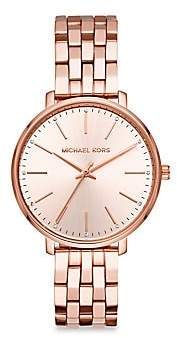 Michael Kors Pyper Three-Hand Rose Goldtone Stainless Steel Watch