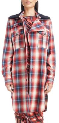 ATLEIN Removable Collar Plaid Cotton Jacket