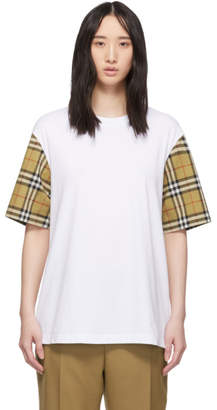 Burberry White Contrast Sleeve T-Shirt