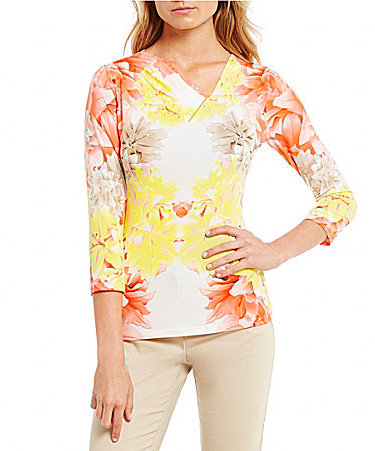 Calvin Klein Calvin Klein Floral Twin Print Pleated V-Neck With Metal Bar Trim Top