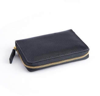 Royce New York Pebbled Leather Zippered Credit Card Wallet