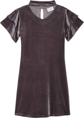 Blush by Us Angels Gigi Flutter Sleeve Velvet Dress