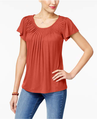 Style&Co. Style & Co Petite Pleated-Neck Top, Created for Macy's
