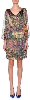 Missoni V-Neck Long-Sleeve Floral-Print Chiffon Dress w/ Allover Fringe
