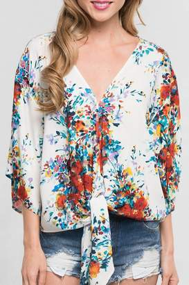 Love Stitch Lovestitch Tie Front Blouse