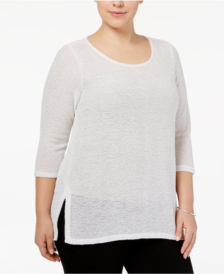 AlfaniAlfani Plus Size High-Low Top, Only at Macy's