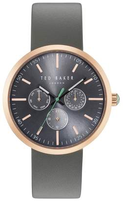 Ted Baker Jack Multifunction Leather Strap Watch, 40mm