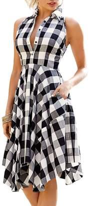 roswear Women's Plaid Sleeveless Denim Checked Flared Shirt Dress with Pockets Blue White