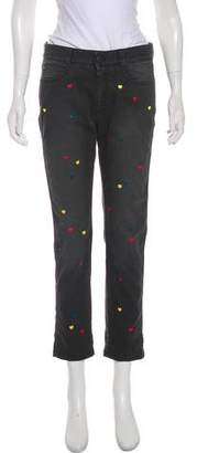 Stella McCartney Heart Embroidered Mid-Rise Jeans