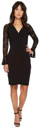 London Times Lace Sleeve Tulip Hem Faux-Wrap Dress Women's Dress