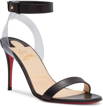 Christian Louboutin Jonatina 85 PVC Black Leather Sandals