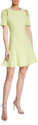 Cinq à Sept Alyssa Crewneck Short-Sleeve Cutout Dress
