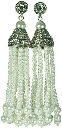 Kenneth Jay Lane Tassel & Pave Crystal 12 Strand Bead Earring
