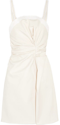 Jacquemus - Lace-trimmed Cotton Mini Dress - Ecru $570 thestylecure.com
