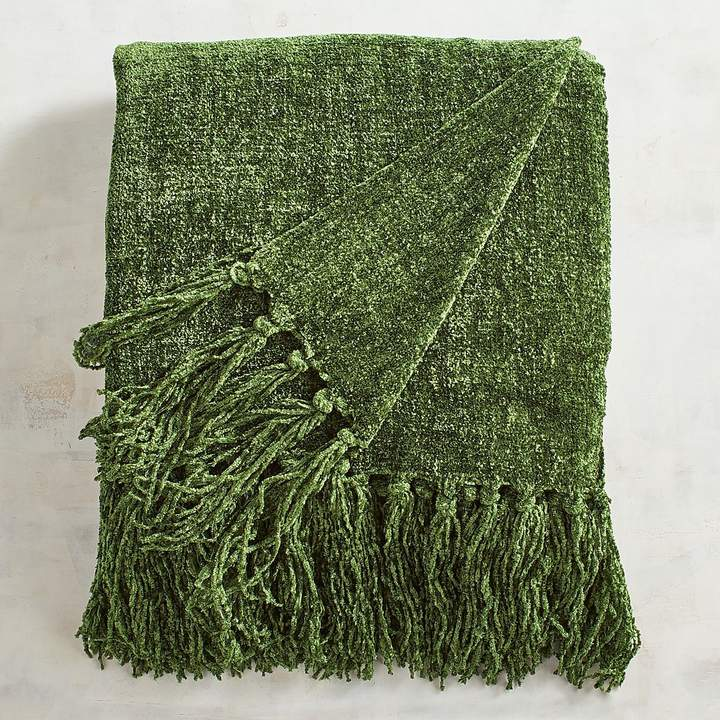 Pier 1 Imports Chive Green Chenille Throw