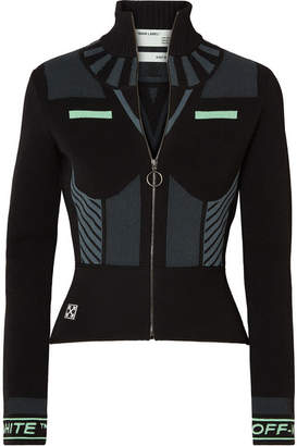 Off-White Striped Stretch-knit Turtleneck Top - Black